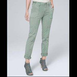 WHBM Utility Straight crop green pants
